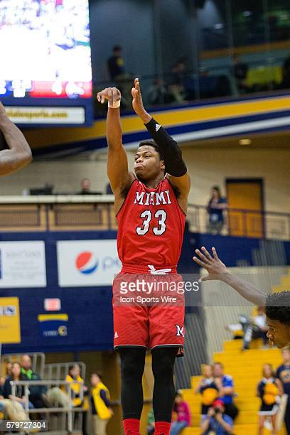 Miami Redhawks G Eric Washington shoots during the first half of the NCAA Men's Basketball game between the Miami Redhawks and Kent State Golden...
