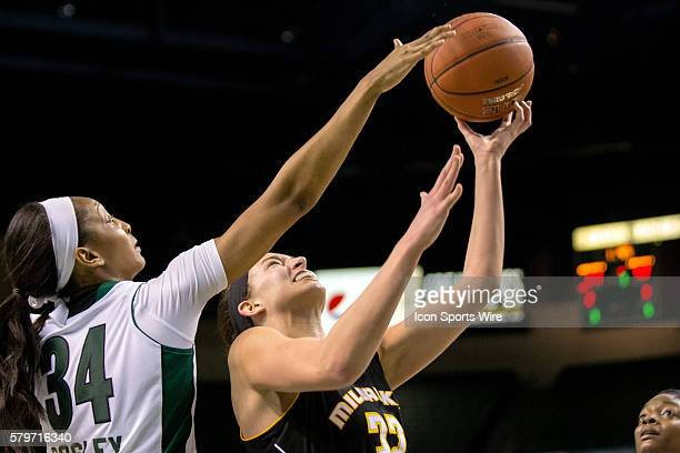 Milwaukee Panthers F Steph Kostowicz shoots as Cleveland State Vikings Forward Shadae Bosley defends during the third quarter of the NCAA Women's...