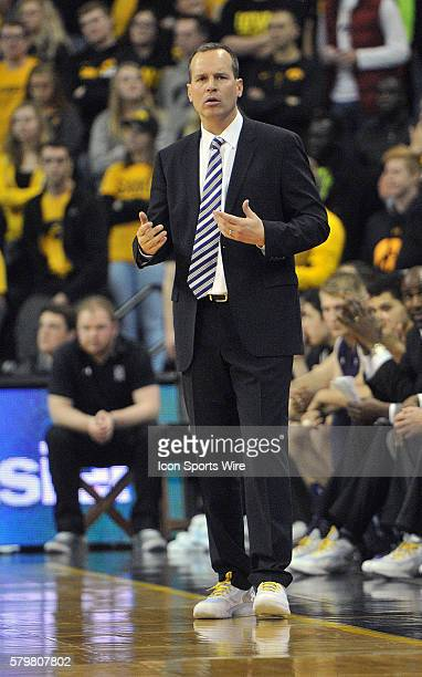 Northwestern head coach Chris Collins during a Big Ten Conference mens basketball game between the Northwestern Wildcats and the Iowa Hawkeyes at...