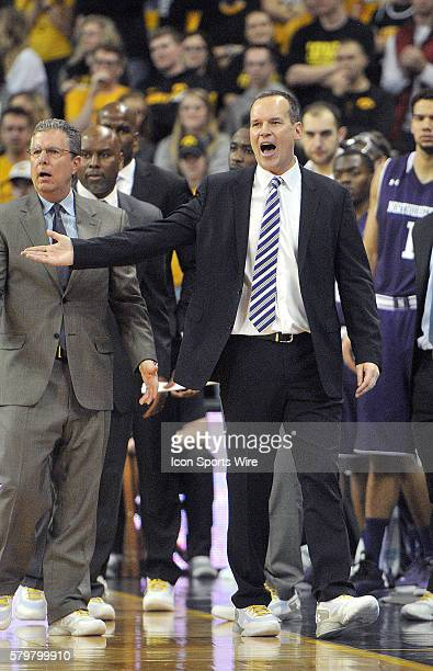 Northwestern head coach Chris Collins reacts to a referee's call during a Big Ten Conference mens basketball game between the Northwestern Wildcats...