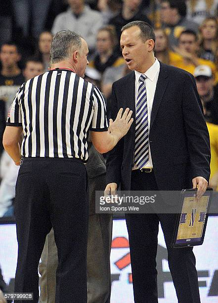Northwestern head coach Chris Collins talks to an official after foul called in the second half during a Big Ten Conference mens basketball game...