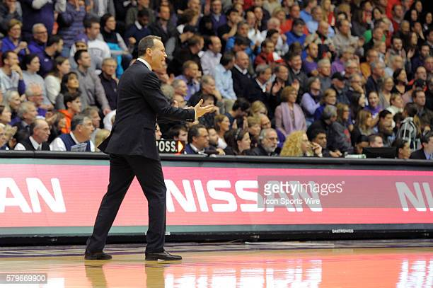 Northwestern Wildcats head coach Chris Collins yells during a game between the Ohio State Buckeyes and Northwestern Wildcats at the WelshRyan Arena...