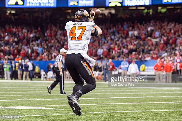 1 January 2016 Ole Miss Rebels v Oklahoma State Cowboys Oklahoma State tight end Blake Jarwin during a game in New Orleans Louisiana
