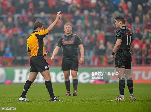 16 January 2016 Ronan O'Mahony Munster is shown a yellow card by referee JP Doyle European Rugby Champions Cup Pool 4 Round 5 Munster v Stade...
