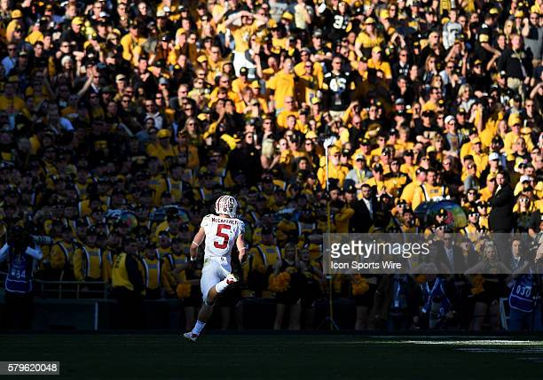 Stanford Christian McCaffrey runs the ball for a touchdown in the second quarter during the Rose Bowl Game between the Stanford Cardinal and the Iowa...