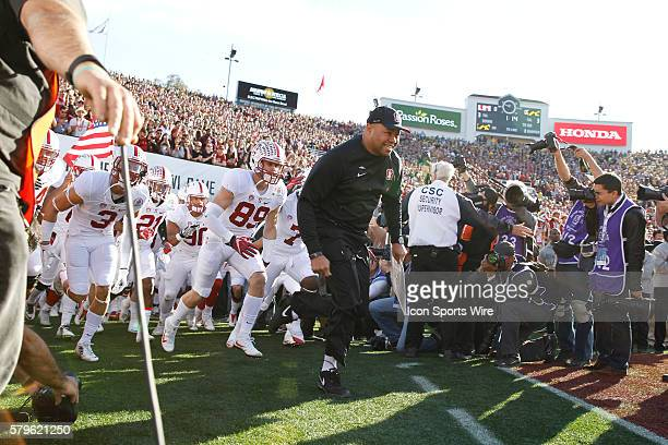 Stanford runs out of the tunnel during the Rose Bowl Game between the Stanford Cardinal and the Iowa Hawkeyes at the Rose Bowl in Pasadena CA