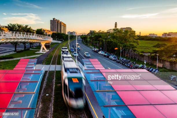 KAOHSIUNG - TAIWAN 5 January 2016: Taiwan's first light rail transit in Kaohsiung, static testing, so that the people watching on the train