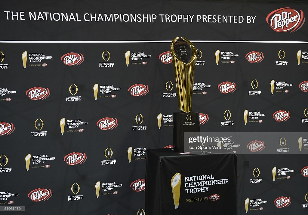 The National Championship Trophy during the Clemson portion of the College Football Playoff National Championship Media Day at the Phoenix Convention Center in Phoenix, AZ.
