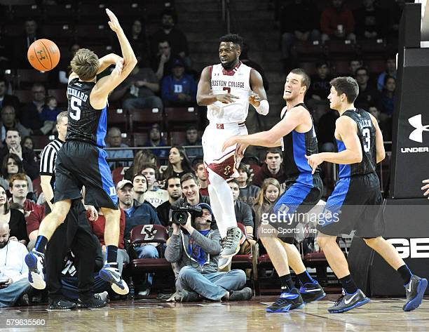 Boston College Eagles guard Eli Carter fires a backwards pass to a teammate During the Boston College Eagles game against Duke Blue Devils at Conte...