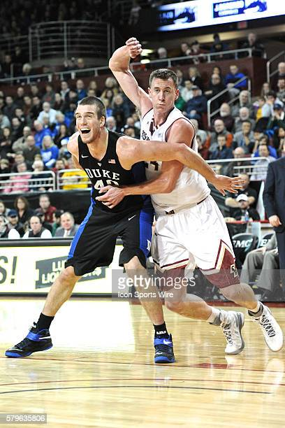Duke Blue Devils center Marshall Plumlee tries to box out Boston College Eagles center Dennis Clifford During the Duke Blue Devils game against...