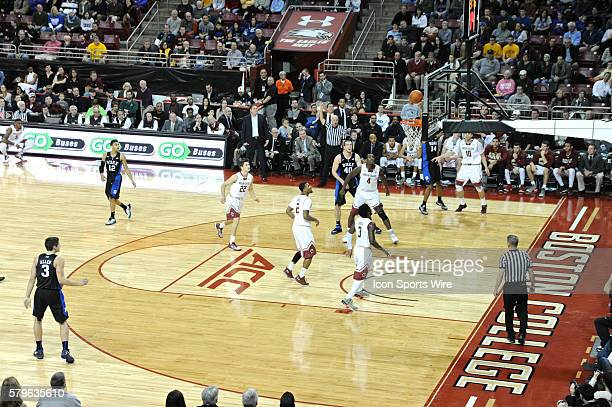 Duke Blue Devils guard Brandon Ingram goes for a three pointer During the Duke Blue Devils game against Boston College Eagles at Conte Forum in...