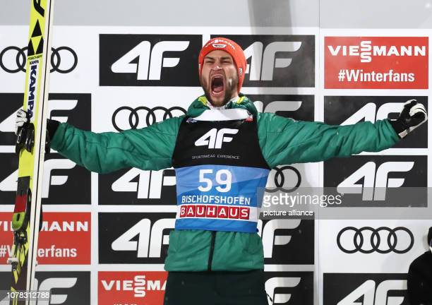 Nordic skiing / ski jumping World Cup Four Hills Tournament Großschanze Men Final Second placed Markus Eisenbichler from Germany cheers on the podium...