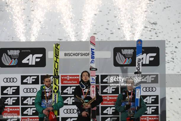 Nordic skiing / ski jumping World Cup Four Hills Tournament Großschanze Men Final Second placed Markus Eisenbichler from Germany overall winner Ryoyu...