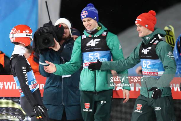 Nordic skiing / ski jumping World Cup Four Hills Tournament Großschanze Men Final Markus Eisenbichler from Germany with his teammates Andreas...