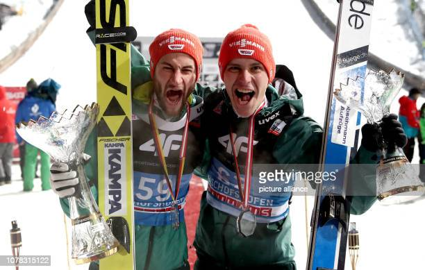 Nordic skiing / ski jumping World Cup Four Hills Tournament Großschanze Men Final Second placed Markus Eisenbichler from Germany and third placed...