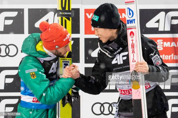 Nordic skiing / ski jumping World Cup Four Hills Tournament Großschanze Men Final Second placed Markus Eisenbichler from Germany and overall winner...
