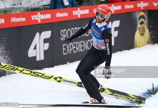 Nordic skiing / ski jumping World Cup Four Hills Tournament Großschanze Men 1st round Markus Eisenbichler from Germany reacts after the jump Photo...