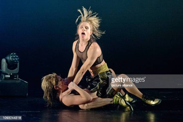 29 January 2019 BadenWÿrttemberg Stuttgart The dancer Louis Stiens and the actress Josephine Köhler in a rehearsal for a new production of The Seven...