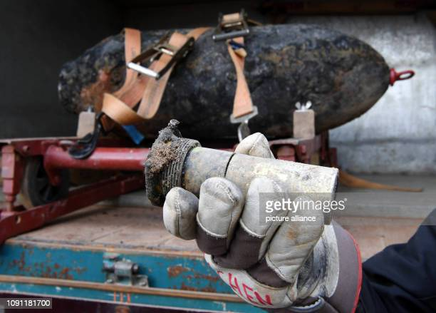 30 January 2019 BadenWuerttemberg Bruchsal In the area of the old freight station Bruchsal a defused American air bomb is shown which was discovered...