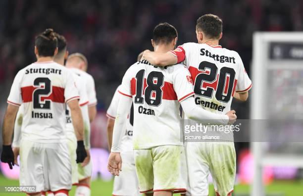 Soccer Bundesliga Bayern Munich VfB Stuttgart 19th matchday in the Allianz Arena Christian Gentner Ozan Kabak and Emiliano Insúa of Stuttgart leave...