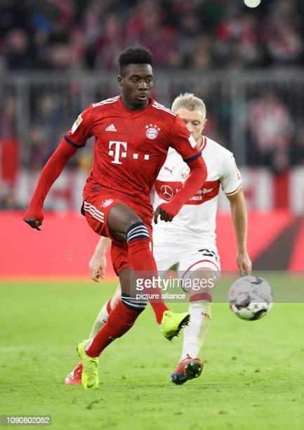 Soccer Bundesliga Bayern Munich VfB Stuttgart 19th matchday in the Allianz Arena Alphonso Davies from Bavaria and Andreas Beck from Stuttgart Bavaria...