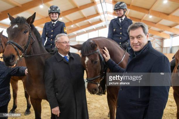 Markus Söder Minister President from Bavaria and Joachim Herrmann Minister of the Interior from Bavaria stand next to the police riders Stephanie...
