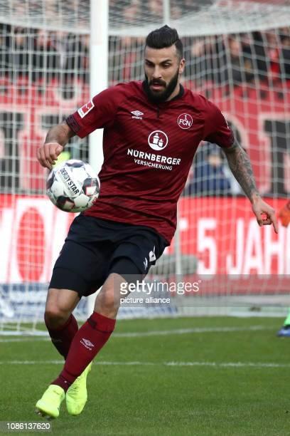 Soccer Bundesliga 1st FC Nuremberg Hertha BSC 18th matchday in Max Morlock Stadium Mikael Ishak from Nuremberg plays the ball Photo Daniel...