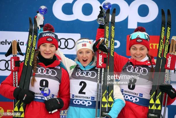 Nordic skiing / crosscountry skiing World Cup Tour de Ski 10 km mass start classic women Second placed Natalia Neprjajewa from Russia winner Ingvild...