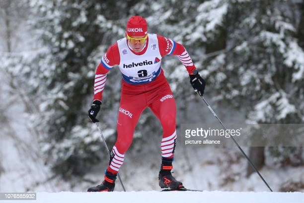 Nordic skiing / crosscountry skiing World Cup Tour de Ski 15 km pursuit freestyle men Alexander Bolshunov from Russia in action Photo KarlJosef...