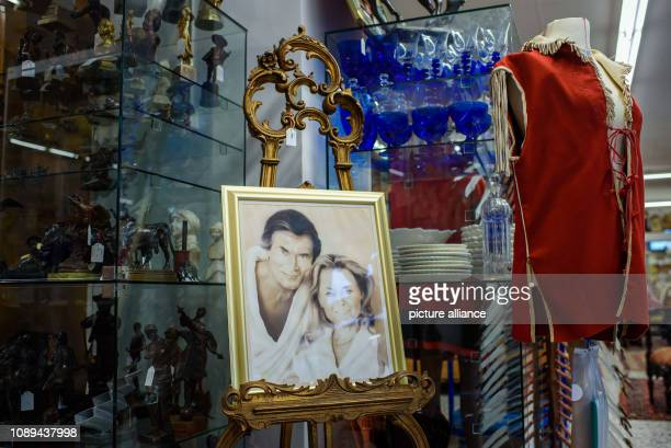 A picture painted by Alika Lindbergh showing the actor Pierre Brice with his wife Hella Krekel is on display during an auction in the private archive...