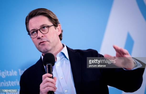 Andreas Scheuer Federal Minister of Transport and Digital Infrastructure will hold a press conference at his ministry after a meeting with the head...
