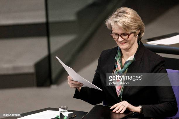 Anja Karliczek Federal Minister of Education and Research sits on the government bench in the plenary session of the German Bundestag The main topics...