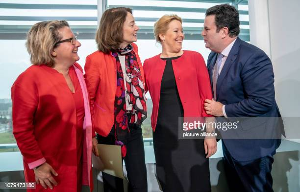 Hubertus Heil Federal Minister of Labour and Social Affairs jokes with Franziska Giffey Federal Minister of Family Affairs Katarina Barley Federal...