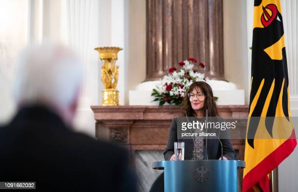 Michèle Déodat creator of the Satue speaks at the award ceremony of the Gift of Remembrance to Federal President Steinmeier for his commitment...