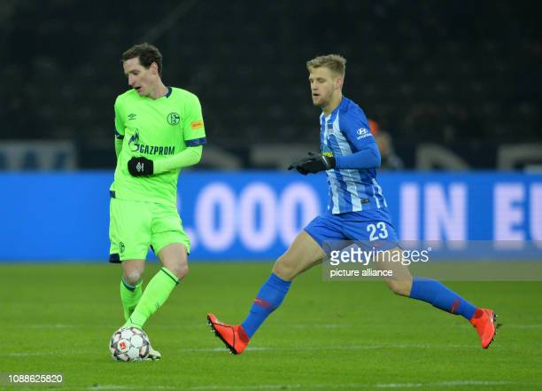 Soccer Bundesliga Hertha BSC FC Schalke 04 19th matchday in the Olympic Stadium Sebastian Rudy of Schalke 04 is attacked by Arne Maier of Berlin...