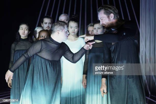 The actors Aaron Smith and Manuel Harder and other actors are on stage at the Deutsches Theater during the photo rehearsal of the play 'Antigone' The...