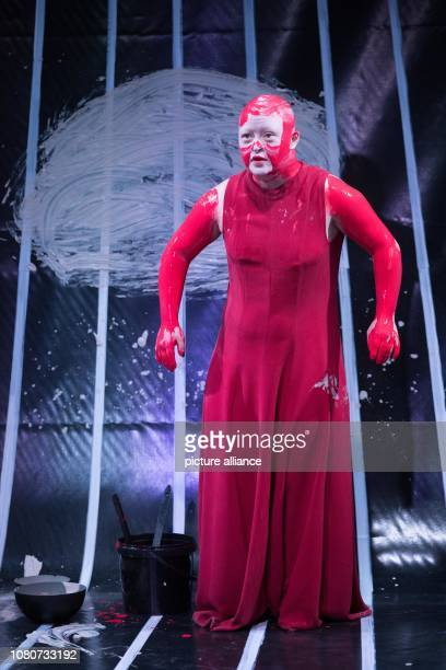 The actress Zora Schemm stands as Antigone at the photo rehearsal of the play 'Antigone' on the stage of the Deutsches Theater The play is a...