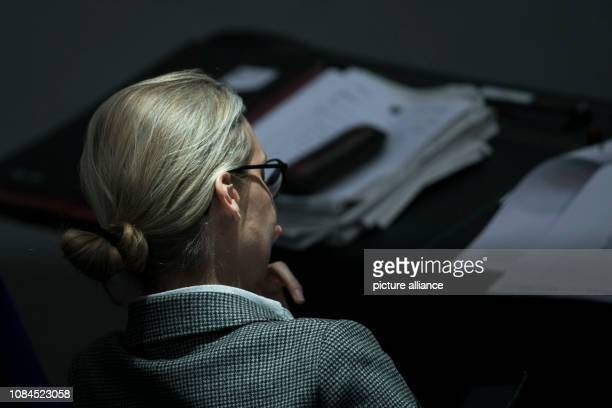 The cochairwoman of the AfD parliamentary group Alice Weidel sits in the plenary session of the German Bundestag The main topics of the 74th session...