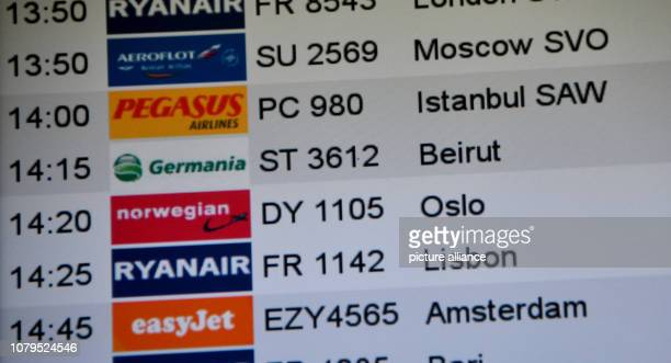 The Germania flight ST 3612 to Beirut is shown at the airport Schönefeld After the turbulent flight summer of 2018 the airline Germania is now in...