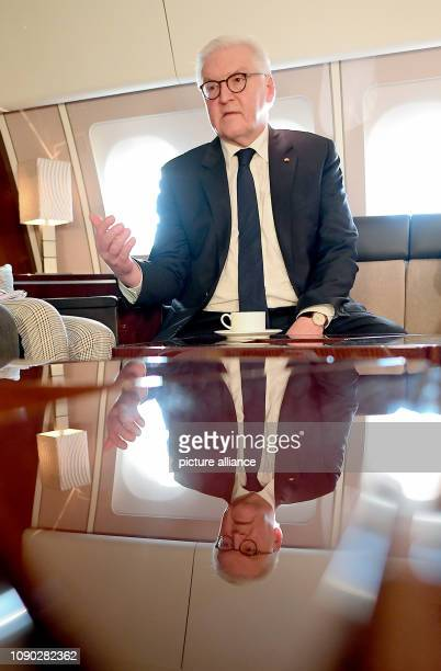 On board the Theodor Heuss government aircraft Federal President FrankWalter Steinmeier provides information on the background to his trip to Africa...
