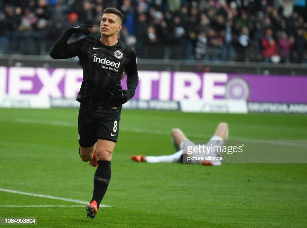 Soccer Bundesliga Eintracht Frankfurt SC Freiburg 18th matchday in the Commerzbank Arena Frankfurt's Luka Jovic celebrates his goal to 10 with...