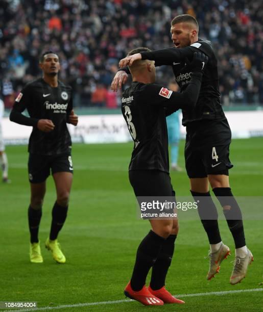 Soccer Bundesliga Eintracht Frankfurt SC Freiburg 18th matchday in the Commerzbank Arena Sebastien Haller Luka Jovic and Ante Rebic from Frankfurt...