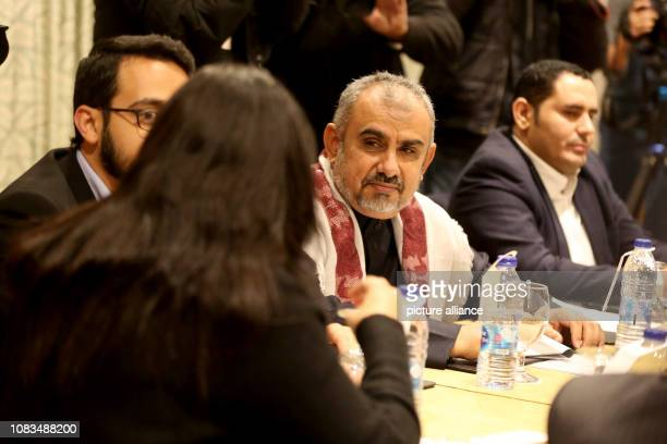 Hadi AlHaig head of the delegation of the Saudibacked Yemeni government attends a meeting with a delegation of the Houthi rebel movement to discuss a...