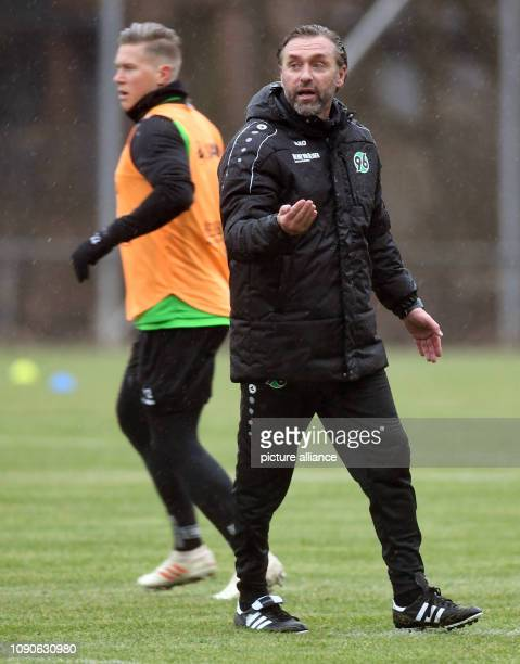 Thomas Doll new coach at Hannover 96 and exnational player is leading the training of the highly relegated Bundesliga soccer team Hannover 96 for the...