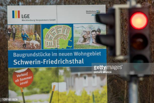 30 January 2019 MecklenburgWestern Pomerania Schwerin An information board is located at the entrance to a new housing estate in the Friedrichsthal...
