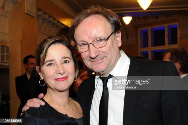January 2019, Munich, München: Actor Rainer Bock and his wife Christina smile after receiving the Bavarian Film Award at the Prinzregententheater....