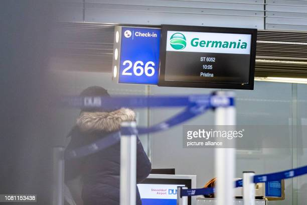 11 January 2019 North RhineWestphalia Düsseldorf A counter of the airline Germania at Düsseldorf Airport Photo Marcel Kusch/dpa