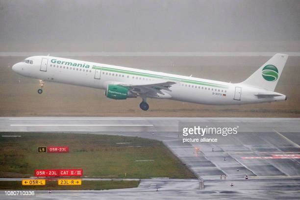 11 January 2019 North RhineWestphalia Düsseldorf An aircraft of the airline Germania takes off at Düsseldorf Airport in Regen Germania had confirmed...