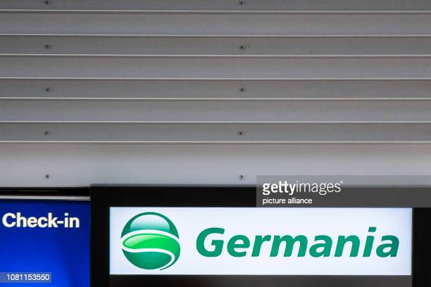 11 January 2019 North RhineWestphalia Düsseldorf The logo of the airline Germania is shown on a display at Düsseldorf Airport Photo Marcel Kusch/dpa