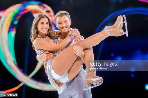 04 January 2019 North RhineWestphalia Köln Sarah Lombardi singer and Joti Polizoakis ice dancer are on the ice at a press event for the new SAT1 show...